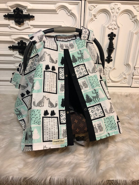 Woodland car seat cover , nursing cover / carseat canopy / carseat cover / deer / arrow / boy