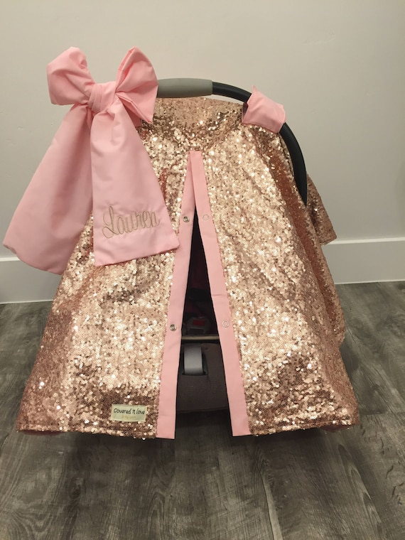 Rose Gold And Baby Pink Car Seat Canopy Carseat Cover