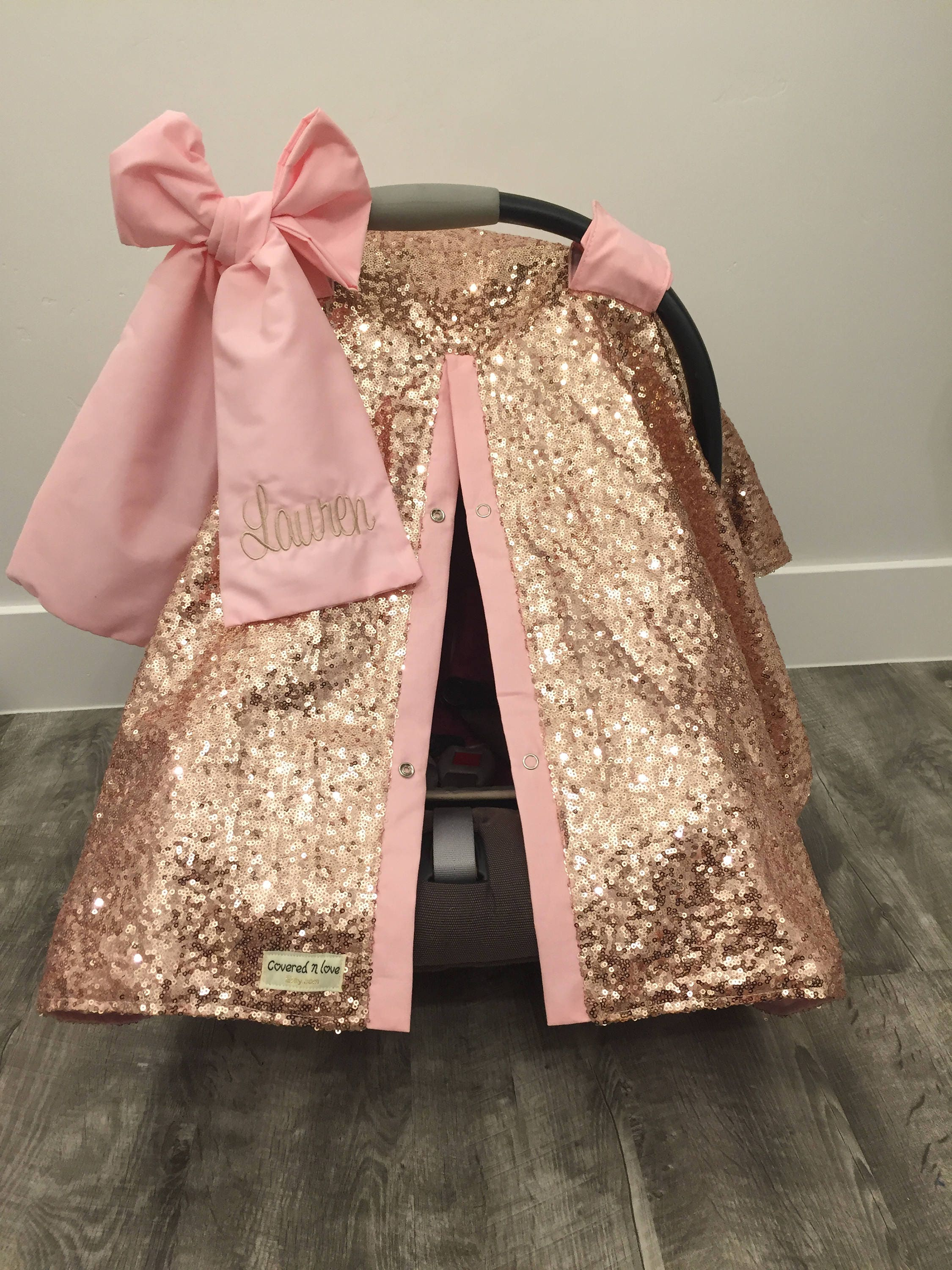 Rose Gold And Baby Pink Car Seat Canopy Carseat Cover Sequin Infant Sparkle