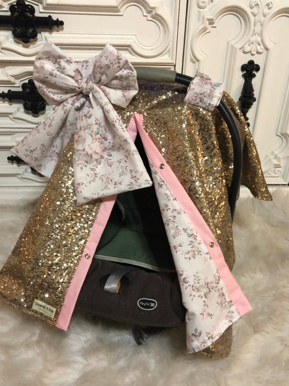 Gold and floral car seat canopy  / carseat cover / carseat canopy /sequin / infant car seat cover / gold / sparkle