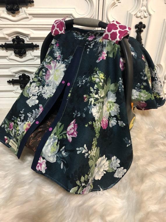 Car seat canopy , floral , elegant , car seat cover , nursing cover