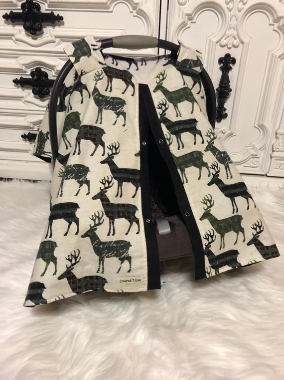 Woodland theme car seat canopy , deer , stag , car seat cover