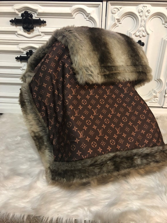 Boujee baby  LV with fur accent blanket , play mat , nursery decor