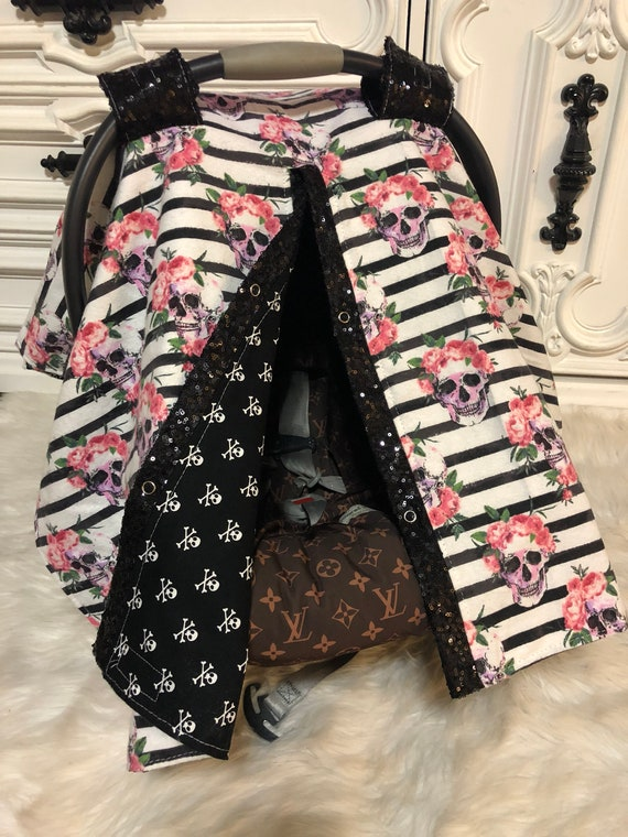 Rockabilly Car seat canopy , black sparkle  ,  Just a touch of sparkle , simple , chic and elegant , skull , floral skull