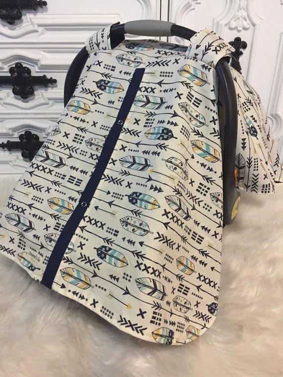 Boy car seat canopy , arrow car seat cover , feather car seat canopy
