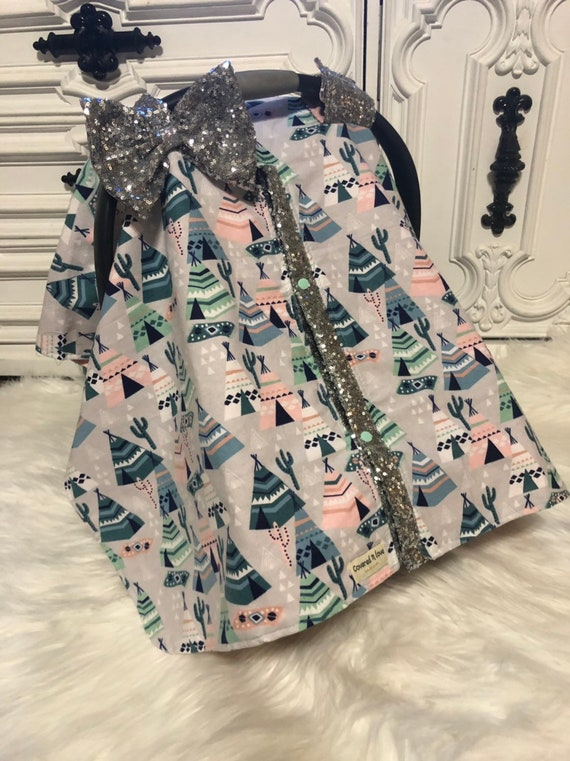 Car seat canopy , teepee , silver bling , carseat cover , nursing cover