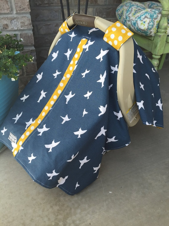 Infant Carseat Canopy Bird silhouette navy and mustard  / Car seat cover / car seat canopy / carseat cover / carseat canopy / nursing cover
