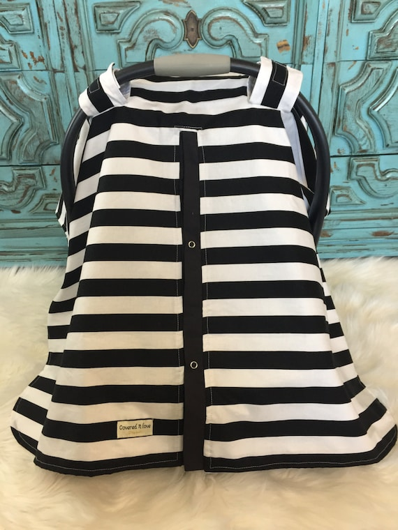 car seat canopy Black and White stripe /  carseat canopy / carseat cover / car seat cover / nursing cover