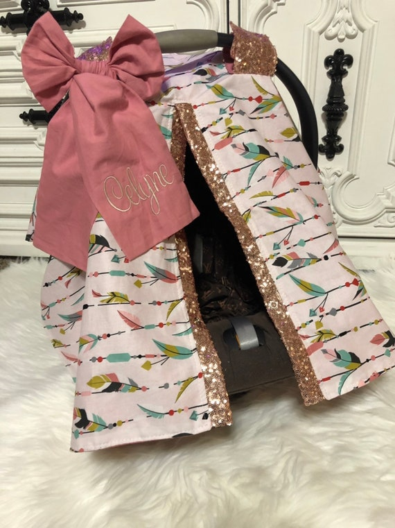 Car seat canopy , feather with rose gold sparkle , comes with jumbo bow and  and name on bow