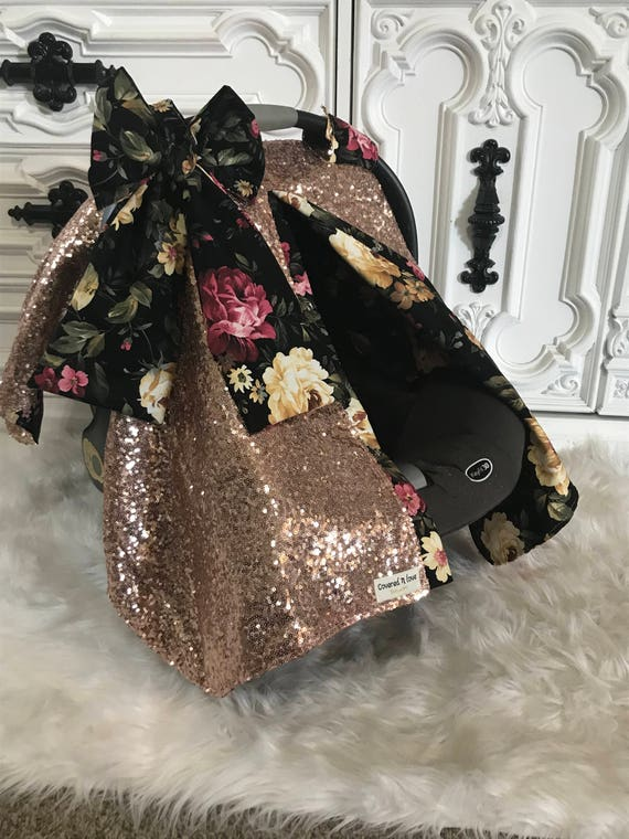 Rose Gold And Floral Sparkle Car Seat Canopy Carseat Cover