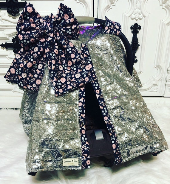 Silver sparkle car seat canopy / carseat cover / carseat canopy / ooak / sequin / infant car seat cover / silver / sparkle