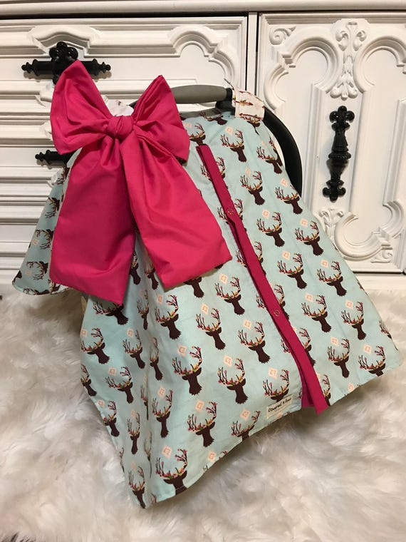 floral horn and arrow ,   car seat canopy With hot pink accesnts and JUMBO bow