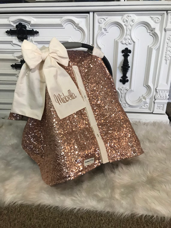 Rose Gold And Cream Car Seat Canopy Carseat Cover