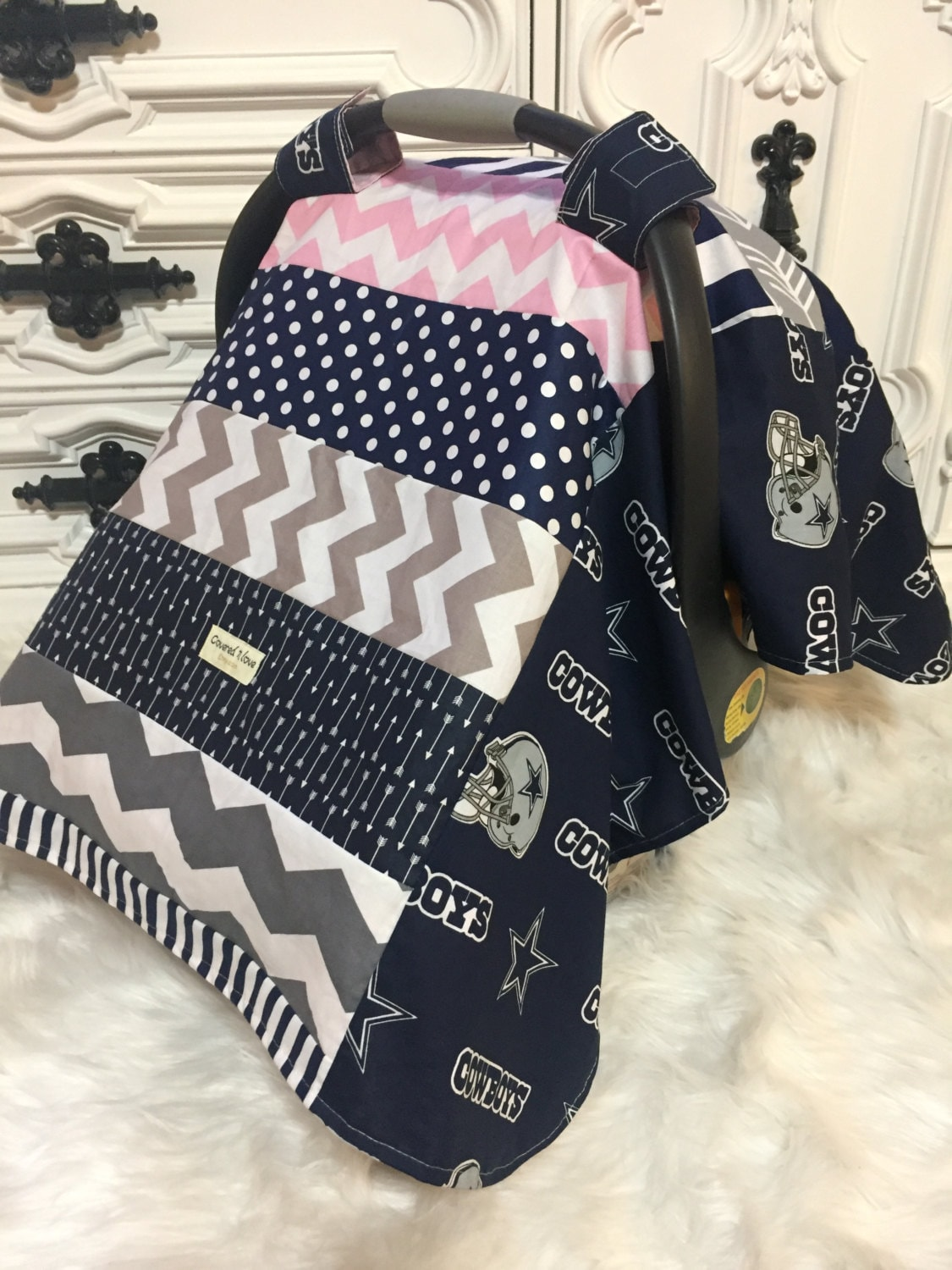 Dallas Cowboys Car Seat Cover OOAK RTS Carseat Canopy Nursing Infant