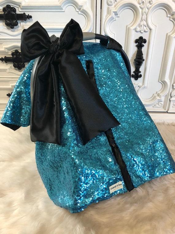 CAR SEAT COVER / car seat canopy / nursing cover / carseat cover / carseat canopy / ooak / sequin / infant car seat cover / aqua / sparkle