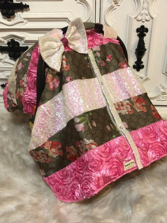 Designer inspried custom car seat canopy , car seat cover , stunning sparkle patchwork