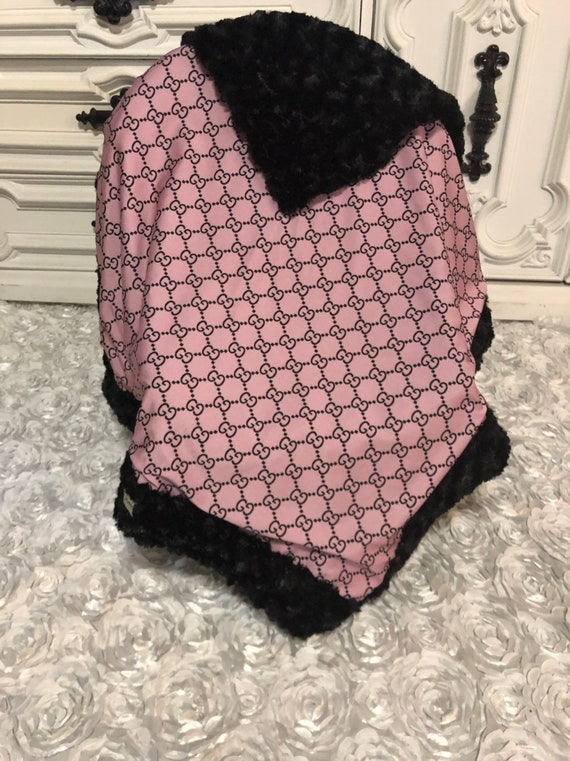 Designer inspired  Baby Blanket , black accent fur