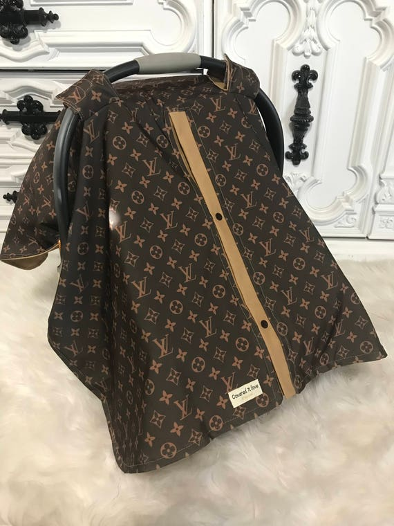 car seat canopy , LV print with camel accents , perfect for him or her