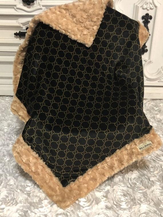 designer inspired  Baby Blanket , stunning black and gold gg velvet with camel faux fur trim
