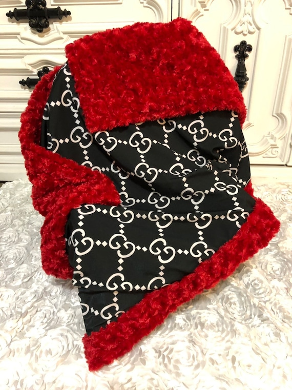 Ready TO SHIP , designer inspired baby blanket , jumbo logo , black and red