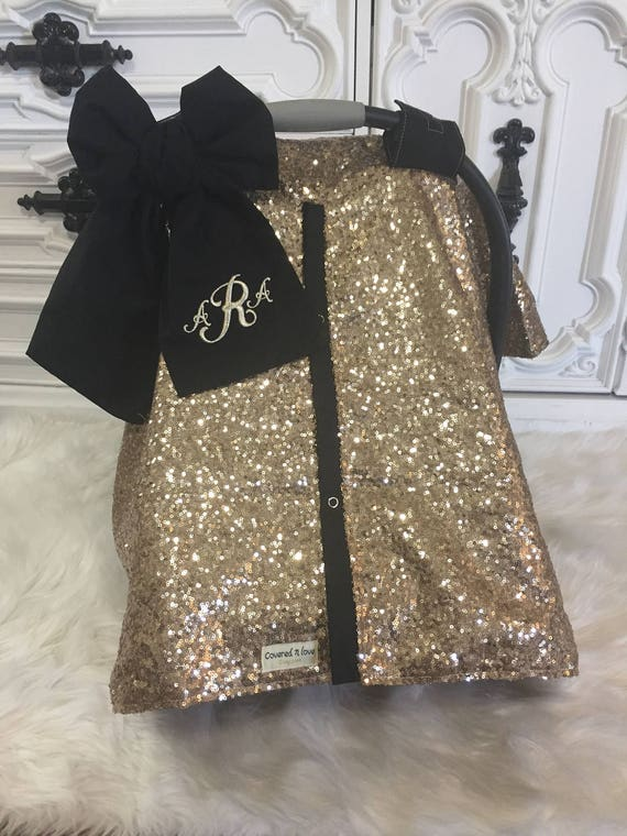 Gold  and Black sparkle car seat canopy with bow and name / carseat cover / carseat canopy / ooak / sequin / infant car seat cover / gold