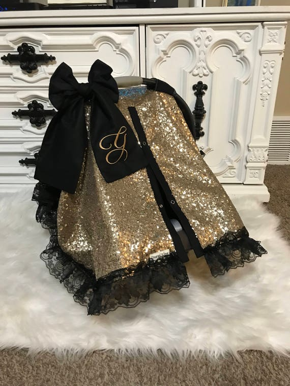 Brilliant Gold Sparkle Car Seat Canopy With Bow And Name Carseat Cover Carseat Canopy Ooak Sequin Infant Car Seat Cover Gold Sparkle Uwap Interior Chair Design Uwaporg