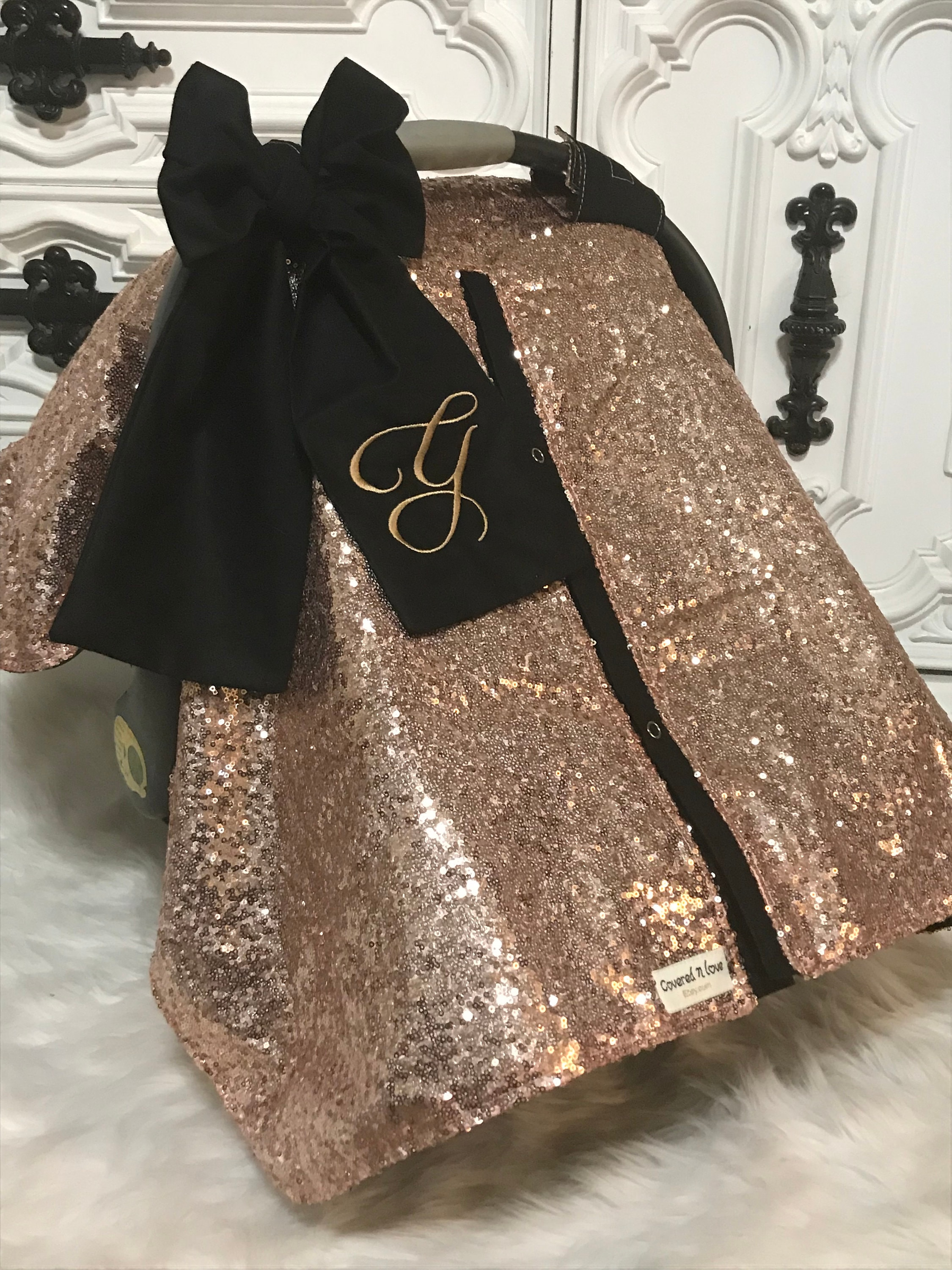 Rose Gold And Black Car Seat Canopy Bow Name Carseat Cover Ooak Sequin Infant Sparkle