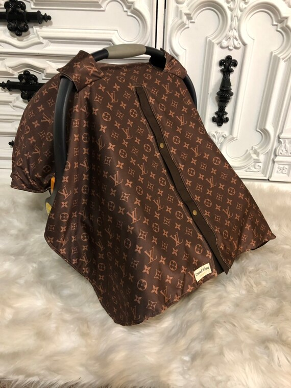 car seat canopy , LV print with brown accents , perfect for him or her