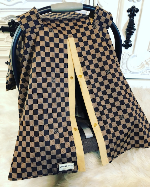 car seat canopy , LV print with tan accents , perfect for him or her , damier
