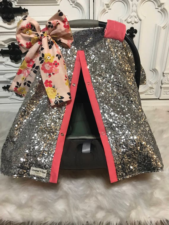 Carseat canopy , car seat cover , silver and coral with JUMBO bow