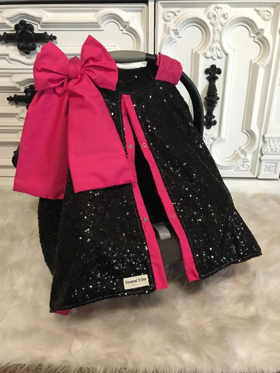 Magnificent Black And Hot Pink Sparkle Car Seat Canopy Carseat Cover Carseat Canopy Ooak Sequin Infant Car Seat Cover Silver Sparkle Uwap Interior Chair Design Uwaporg