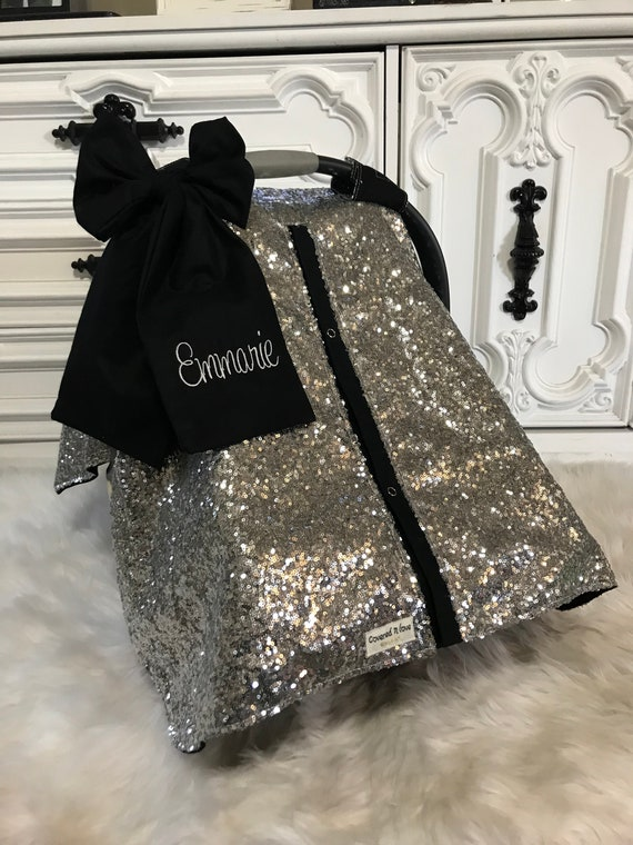 Car seat cover , silver and black , comes with jumbo bow and name , car seat canopy , Sparkle , nursing cover