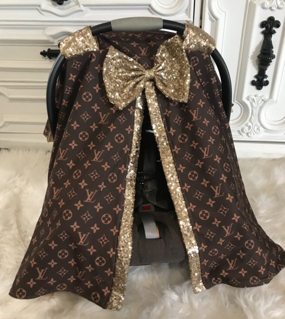 LV infant car seat canopy , car seat cover , LV and Gold bling