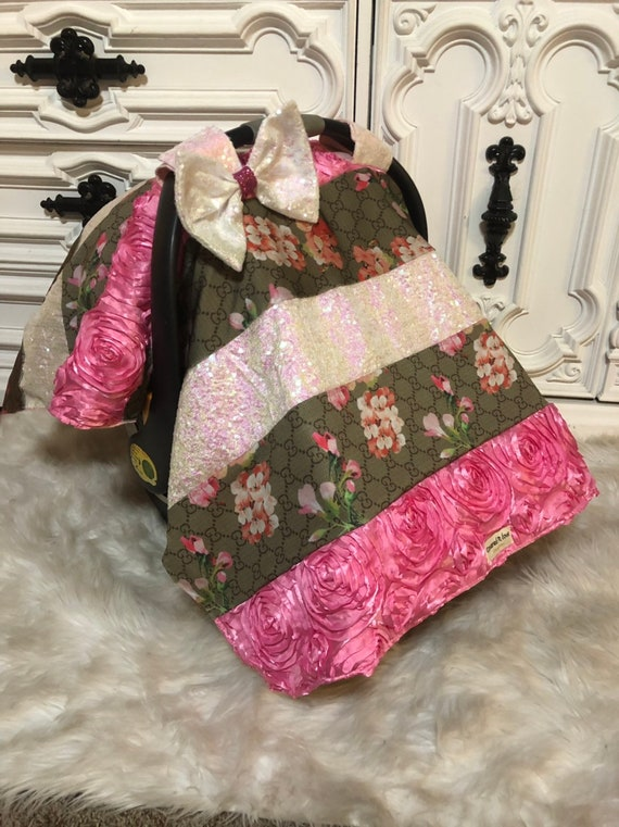 Designer inspried custom car seat canopy , car seat cover ,  comes with detachable bow