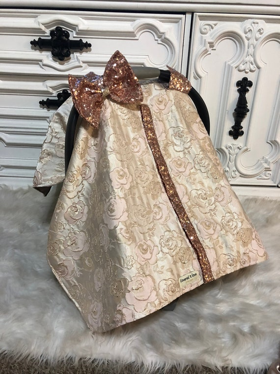 Car seat canopy , embosed rose gold with rose gold soarkle accents , stunning new fabric , rose gold , car seat cover