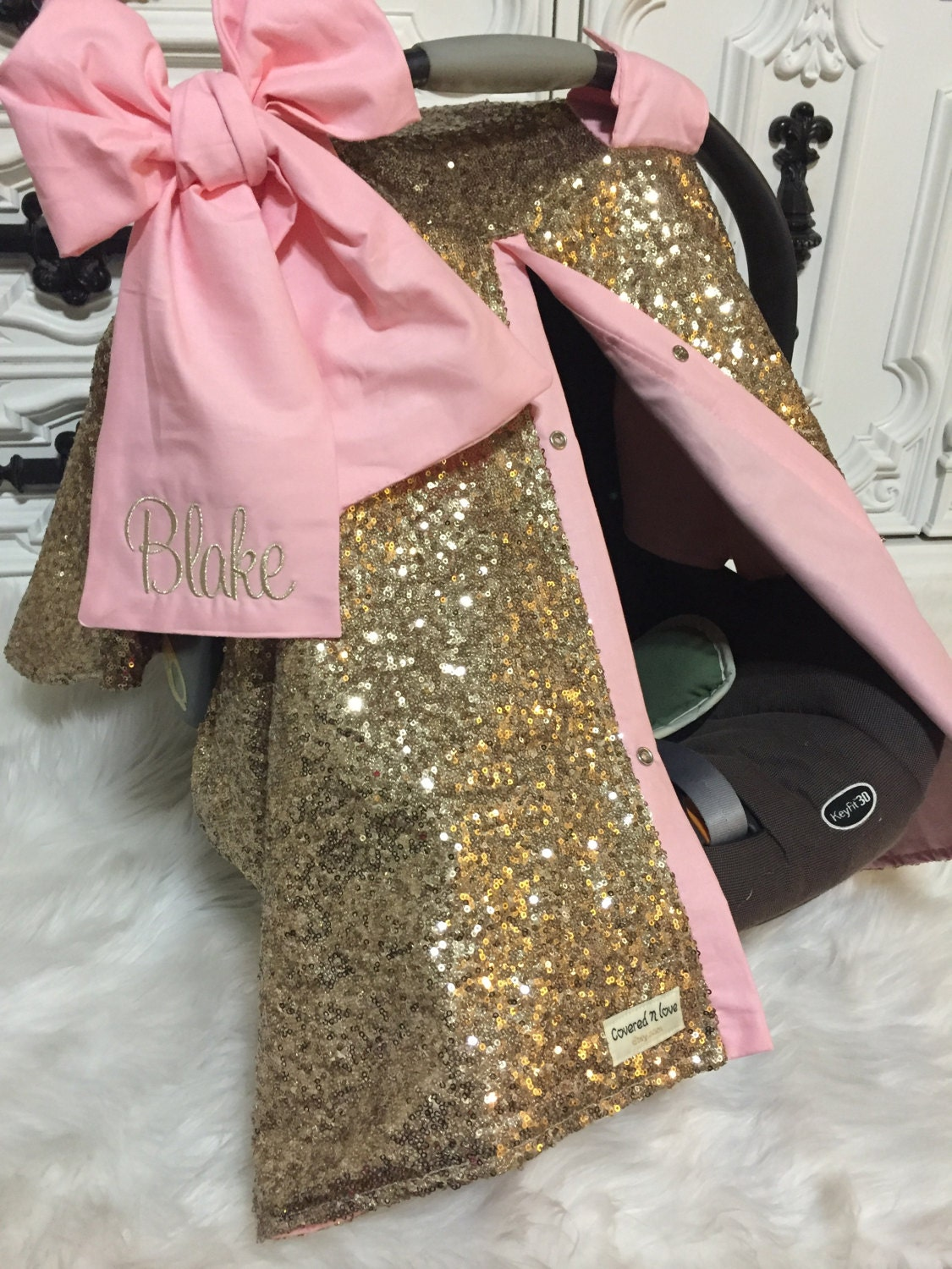 Gold Sparkle Car Seat Canopy Carseat Cover Ooak Sequin Infant