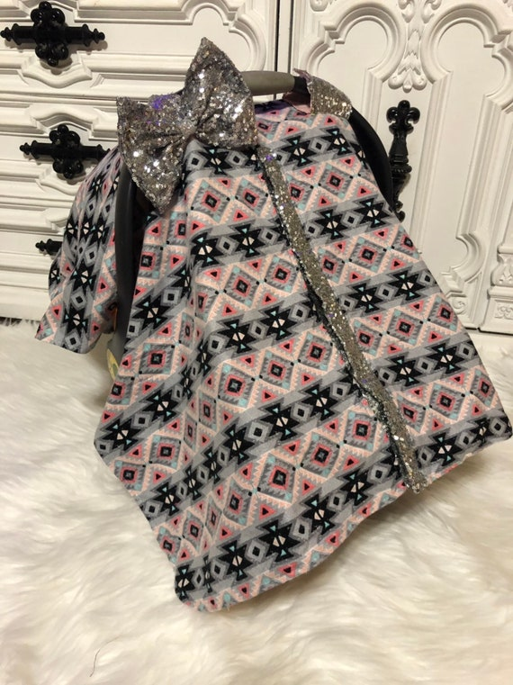 Car seat canopy , aztec princess , silver bling , carseat cover , nursing cover