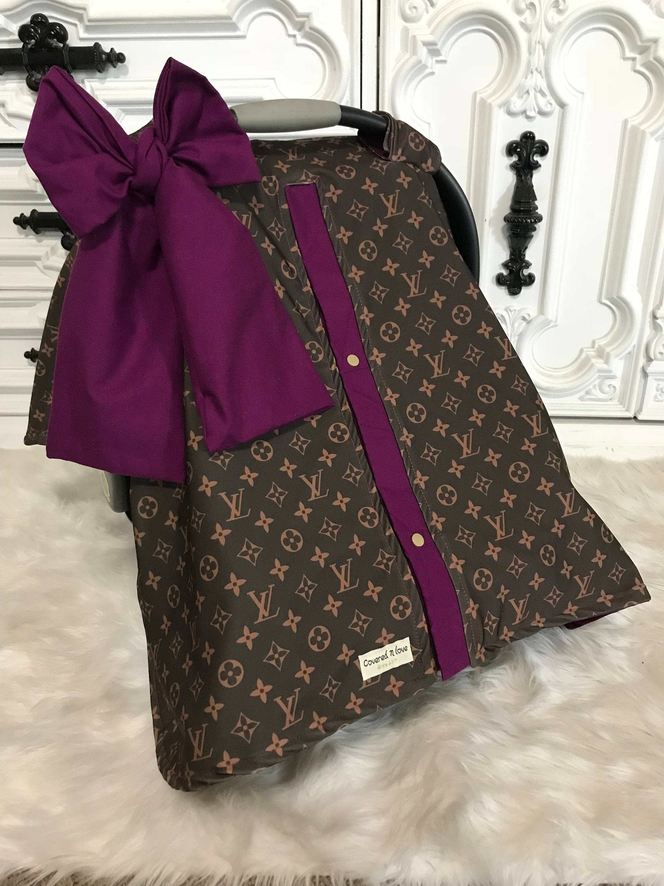 Car Seat Canopy LV Cover With Matching Jumbo Bow