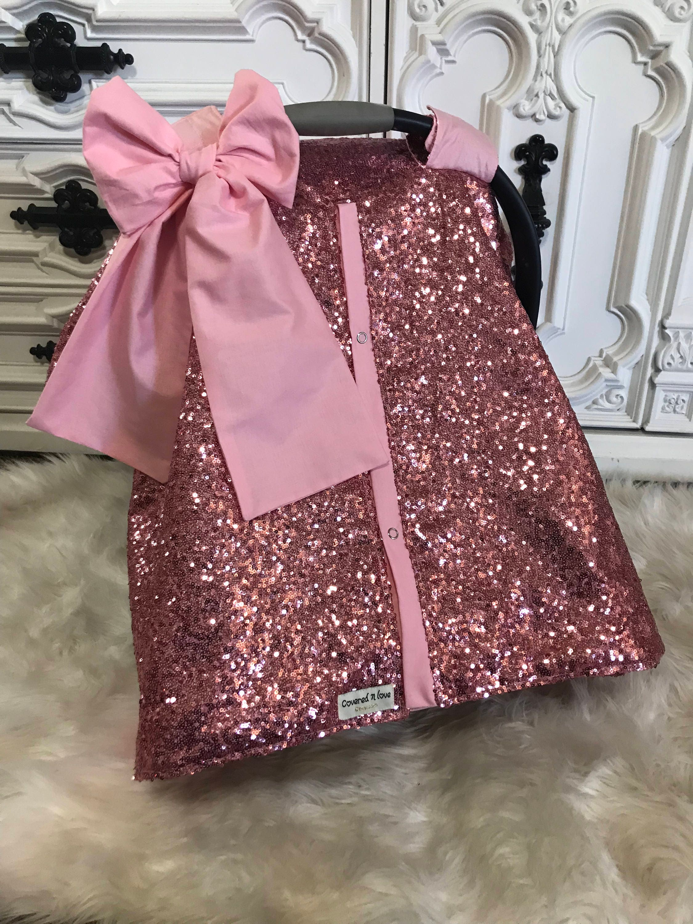 Pink Baby Sparkle Car Seat Canopy Carseat Cover Ooak Sequin Infant Silver