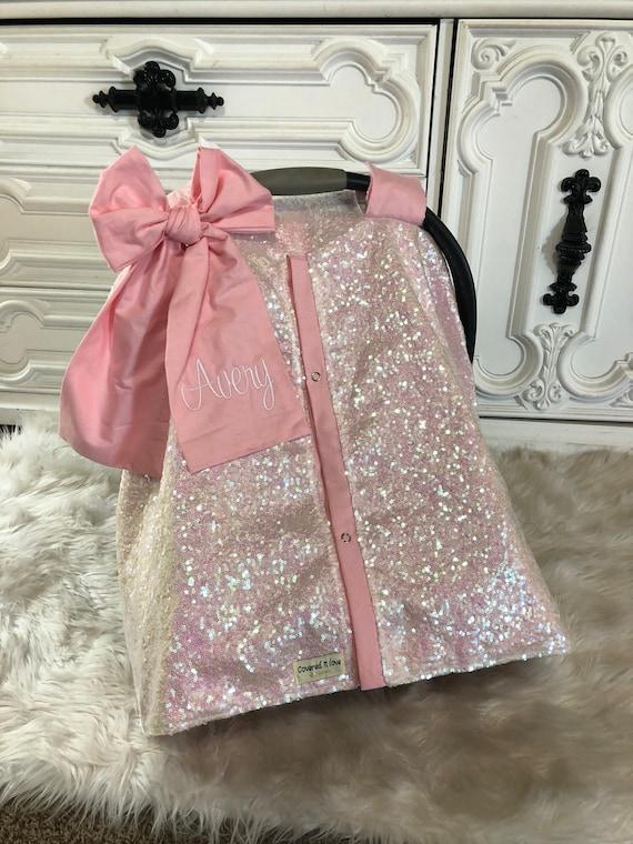Iridescent And Baby Pink Car Seat Canopy Carseat Cover