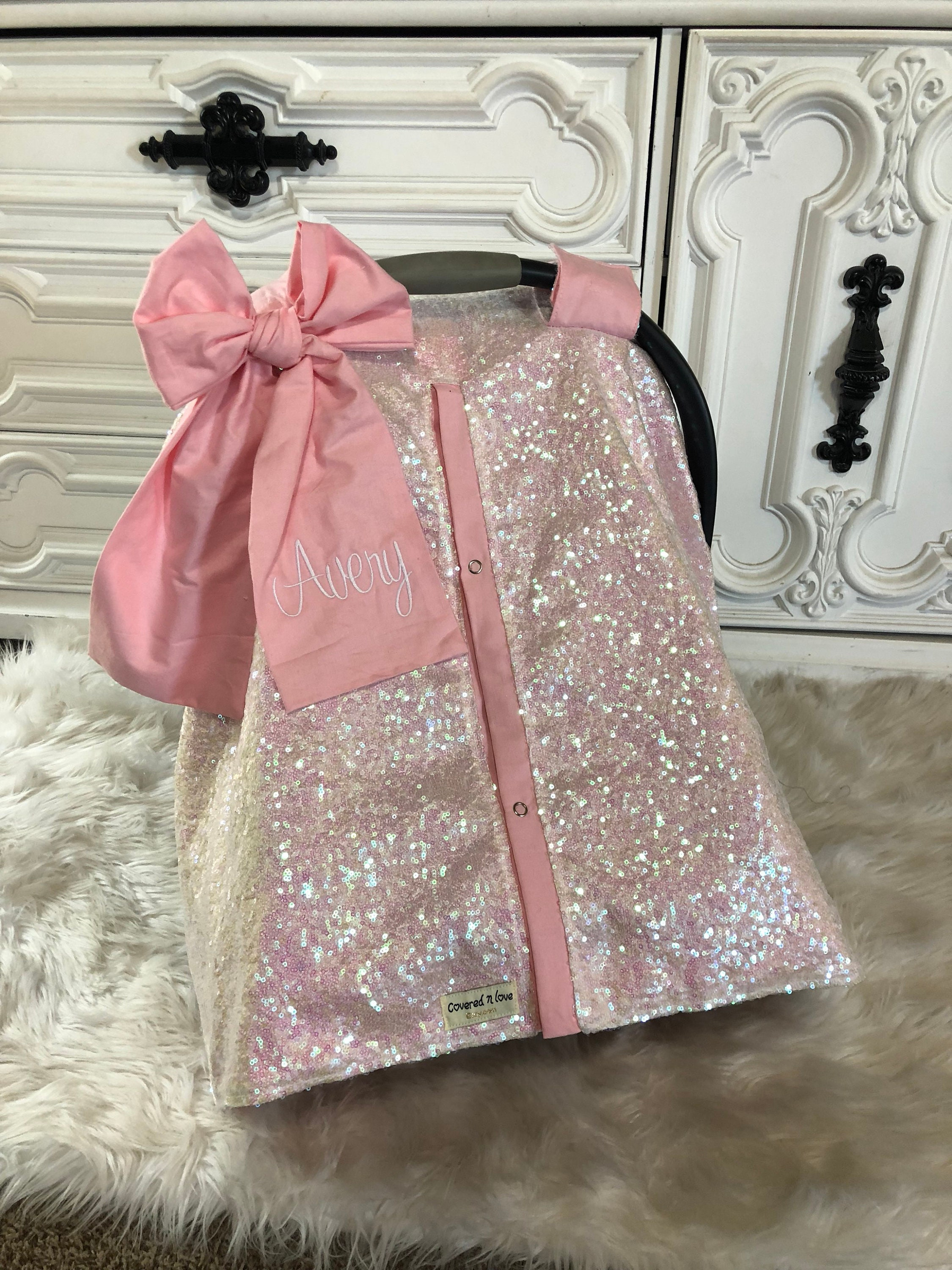 Iridescent And Baby Pink Car Seat Canopy Carseat Cover Sequin Infant Gold Sparkle