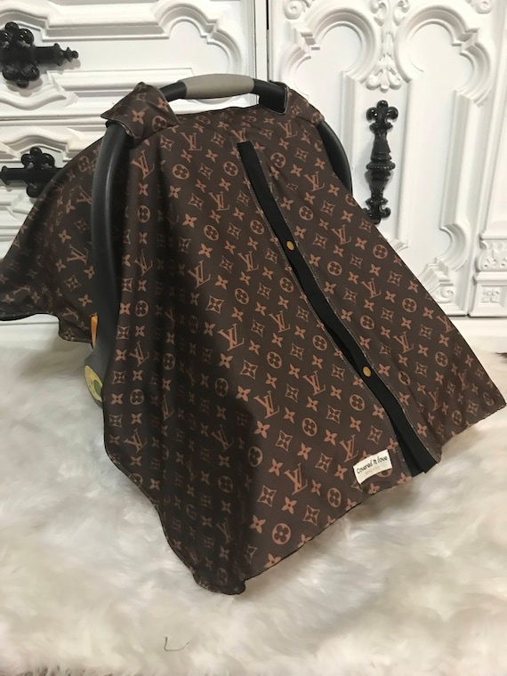 car seat canopy , LV print with black accents , perfect for him or her