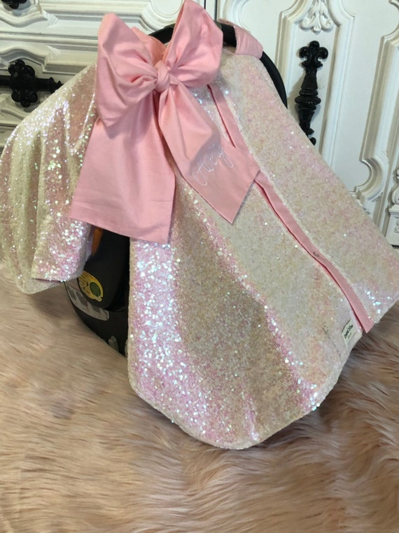 Iridescent and Baby Pink car seat canopy  / carseat cover / carseat canopy /sequin / infant car seat cover / gold / sparkle