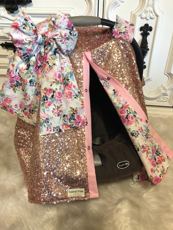 Rose gold car seat canopy , vintage floral accents , add matching jumbo bow and name , rosegold , car seat cover