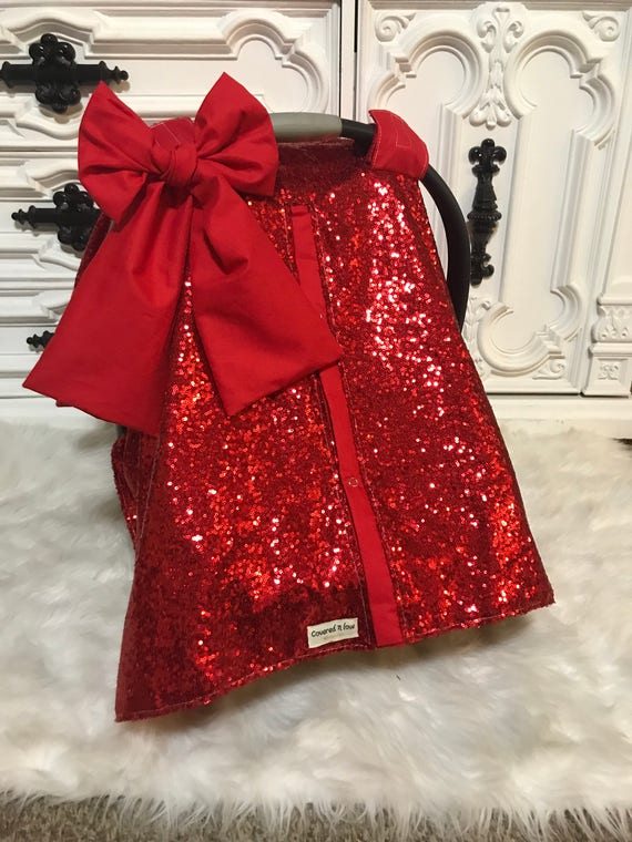 car seat canopy , car seat cover , red sparkle with jumbo bow