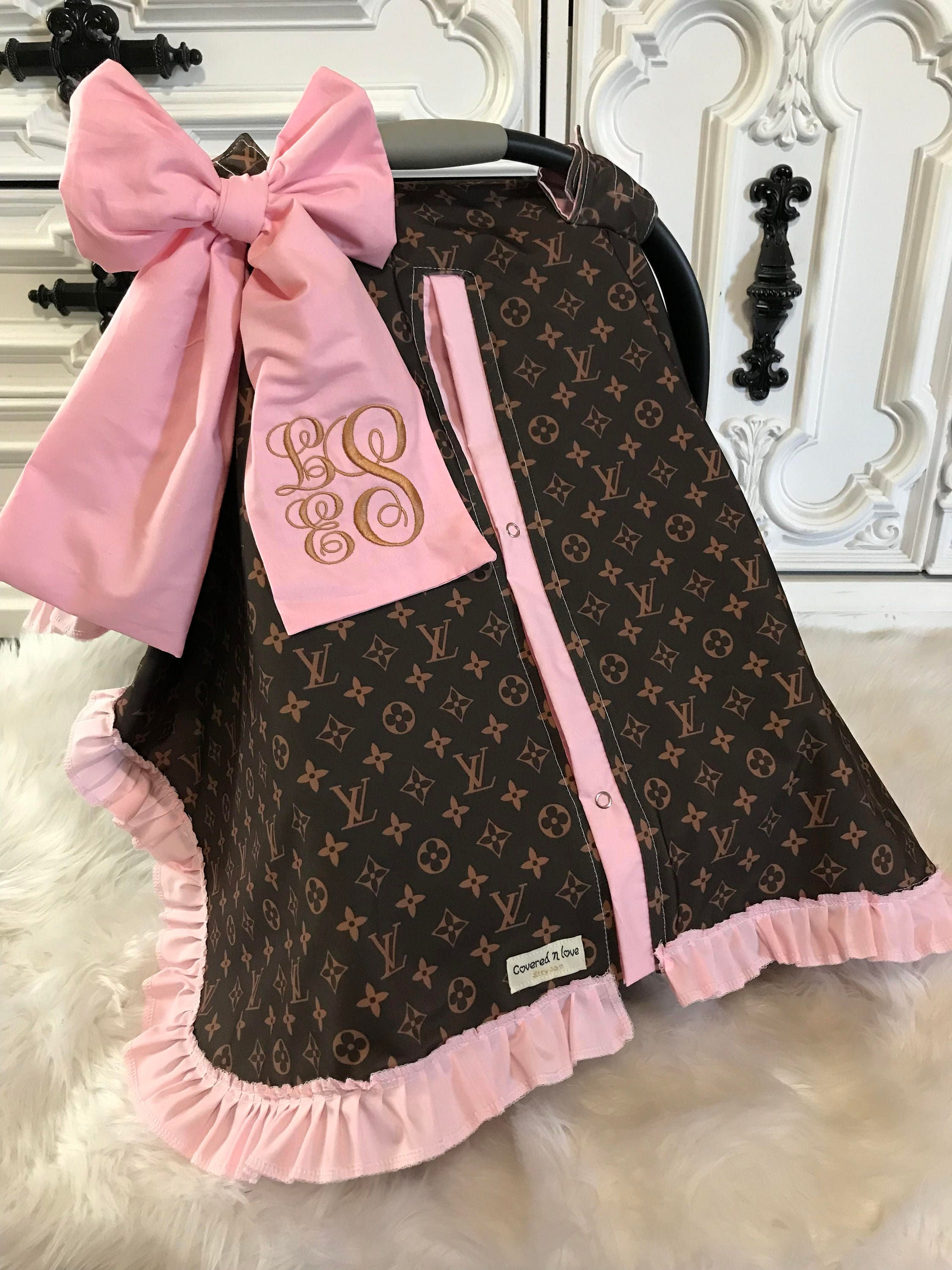 Car Seat Canopy LV Cover Comes With BOW And Ruffle