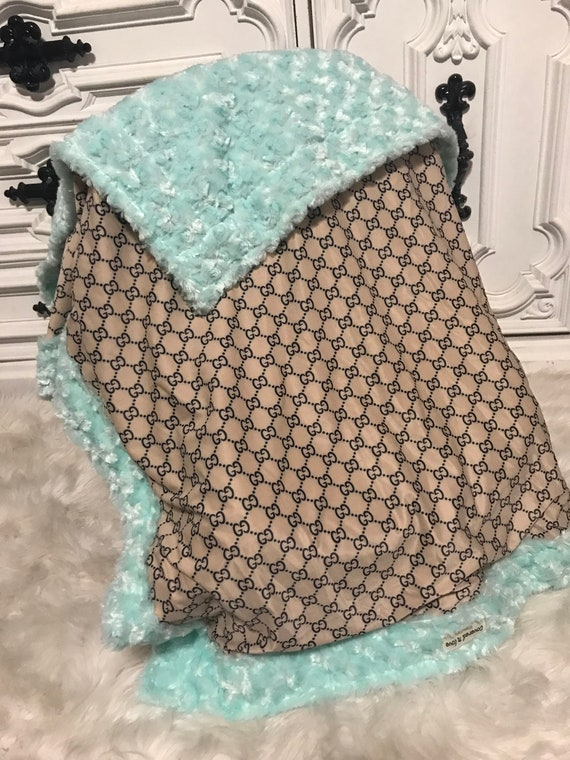 Gucci inspired  Baby Blanket YOU pick minky color