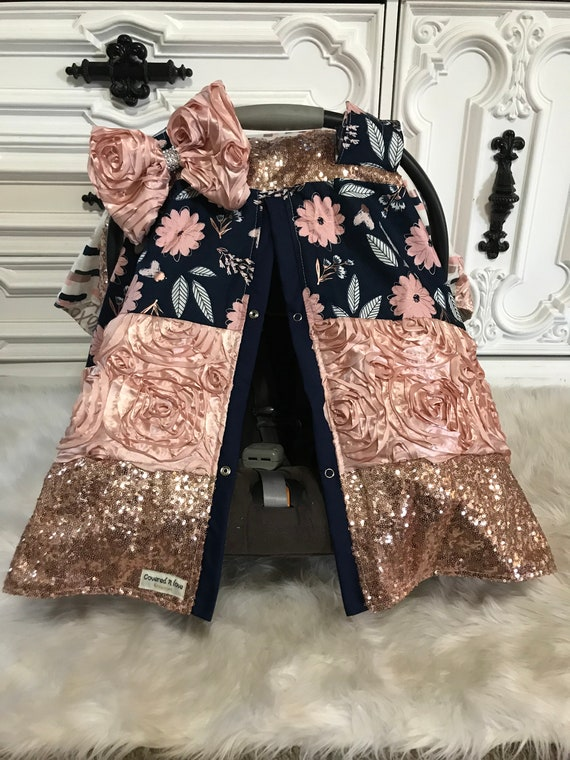 car seat cover , Stunning custom patch work car seat canopy , Levi and blush floral , jumbo BLING bow included