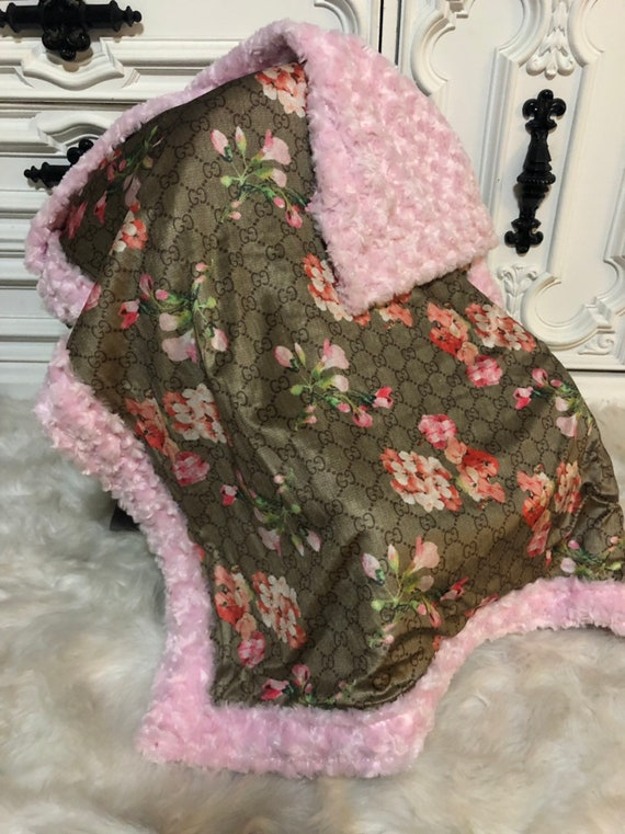 designer inspired  Baby Blanket , stunning floral gg with light pink faux fur trim