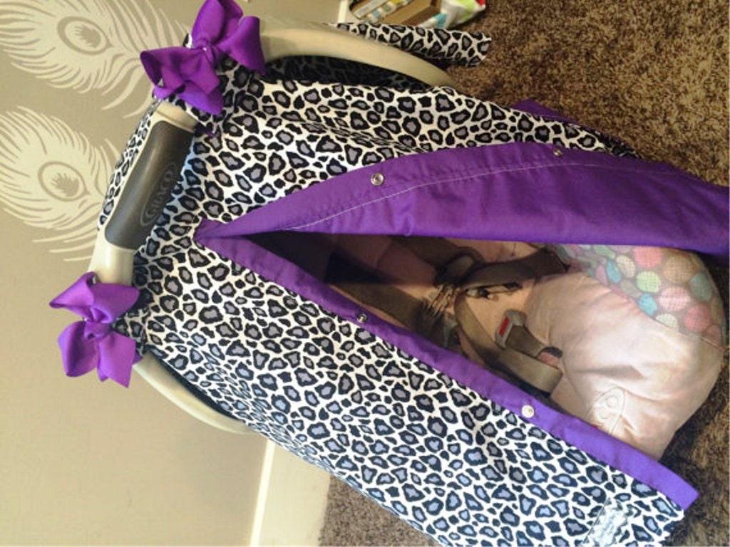 Carseat Canopy Black Cheetah And Purple Car Seat Cover Nursing